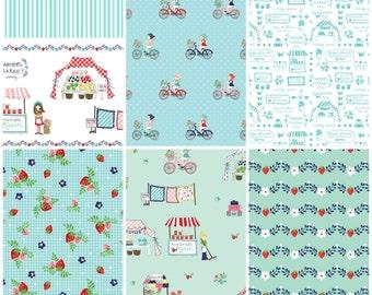 Vintage Market Bundle, Riley Blake cotton fabric, cool breeze palette - yard set of 6