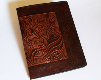 Leather Notebook Cover with Cloud Design - Fits 5x8 Inch Notepad (Small Legal Pad)