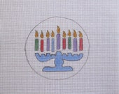 Hanukkah Handpainted Needlepoint Canvas Christmas Ornament
