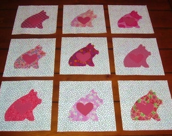 "Set of 9 Chubby Pink Pigs w/Hearts Applique Quilt  6"" x 6"" Blocks"
