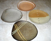 Set of 4 - Unique Vintage Handmade Dinner Plate Set, Stoneware Serving Plates, Made in Japan - Studio Pottery Plate Decorative Bamboo Plate