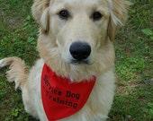 Service Dog In Training Dog Bandana TIE Style Sizes S to XL Choice of Fabric