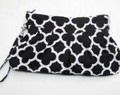 Wristlet Wallet with strap, Phone Case, Small Wallet, Wristlet Bag , Zippered Clutch Pouch Quatrefoil in Black Handmade Purse