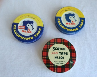 Set of 3 Vintage Cellophane Tape Tins Plaid Scotch and Bear Brand