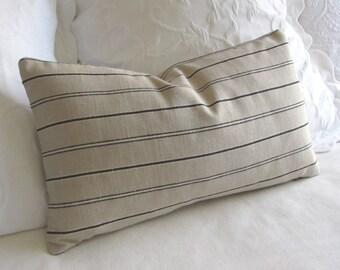 Rustic Woven black on ecru stripes  decorative lumbar pillow with insert 12x20