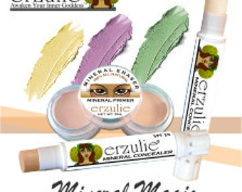 Natural Mineral Corrector/Concealer Acne Safe Makeup Non-Comedogenic  THREE SHADES  green, yellow and salmon
