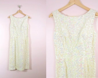 1960s Ivory Wiggle Dress Iridescent Sequins M