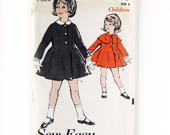 1960s Girls Vintage Coat Sewing Pattern / Advance 2843 / Madeline Style Coat with Cape // UNCUT FF / Size 6