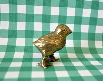 adorable solid brass 1970s vintage baby chick