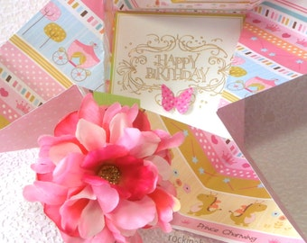 Princess Pinwheel BIRTHDAY Card for little GIRL, in pink and green with pink  flower and 3d butterfly