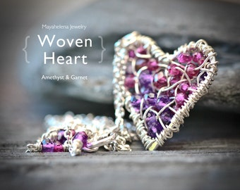 Amethyst and Garnet Woven Heart - Wire Wrapped Sterling Silver Layering Necklace