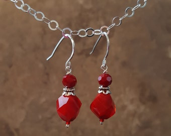 Faceted Red Glass with Bali Silver and Sterling Silver - Free Shipping