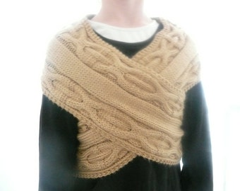 Knitting Pattern Wrap Cowl Neckwarmer Scarf - Celtic Cables Crossover Wrap - 4 Sizes (Teen - Adult)