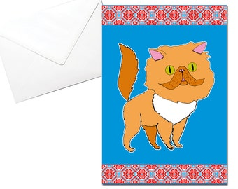 Persian Cat Card, Greeting, Blue, Russian embroidery, Printed