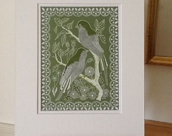 Original Art. A delicate pen and ink drawing of birds and flowers and a lace border