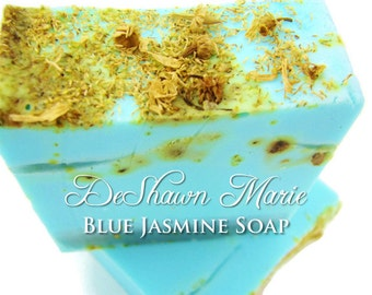 SALE SOAP - Blue Jasmine Handmade Soap, Vegan Soap, Jasmine Soap, Blue Soap, Soap Gift