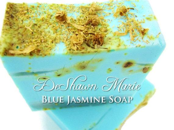 SALE SOAP - Blue Jasmine Handmade Soap, Vegan Soap, Jasmine Soap, Blue Soap, Soap Gift