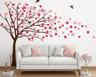 Blowing Tree with Flowers Wall Decal