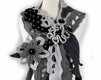 Winter Scarf Black Cowl Ooak Scarf Grey Neck Warmer Hand Crochet One of a Kind Scarf Winter Accessory Fall Fashion Flower and Leaves