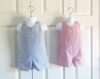 "Boys ""Johnny"" Jon Jon Romper Shortalls in COLOR Choice of Kaufman Classic Seersucker - COLOR CHOICE - 0 months to 4T"