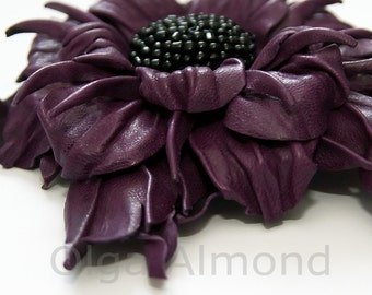Leather flower. Leather brooch . Purple flower brooch .Fantasy Leather jewelry