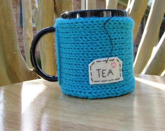 Knitted tea mug cozy tea cup cozy in peacock blue