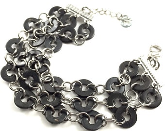 Cuff Bracelet Black Multi Strand Hardware Jewelry Industrial Eco Friendly