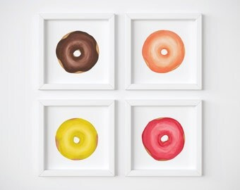 Colorful Donut Watercolor and Gouache Print: a Square Illustration Print for a Donut Lover's Nursery or Kitchen