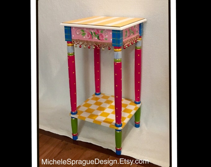Whimsical Painted Furniture, Painted table // whimsical painted table // painted accent table