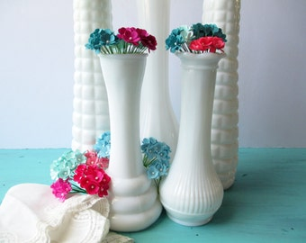 Milk Glass Vase Collection Brody Randall Set of Five - Vintage Chic