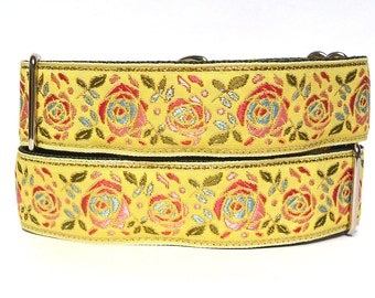 "martingale dog collar, 1.5"" wide BUTTERCUP in yellow floral roses, greyhound or sighthound collar, adjustable training collar"