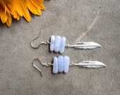 silver blue lace agate and feather earrings