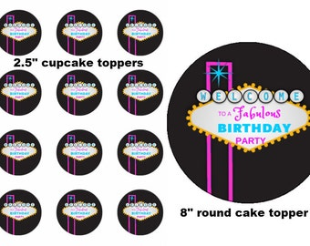 Las Vegas Personalized Birthday Cupcake or Cake Edible Topper Baking Supplies