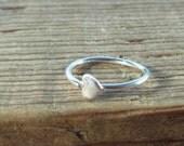Hoop Earring Silver Tiny Heart SINGLE-  Tragus Jewelry, Rook Jewelry, Daith Jewelry, Helix Jewelry, Cartilage Jewelry, Heart Hoop Earring