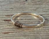 Gold Hammered Ring with Gunmetal Wrap - Stacking Ring, Mixed Metal Ring, Knuckle Ring, Thumb Ring, Pinkie Ring, Layering Rings, Gunmetal