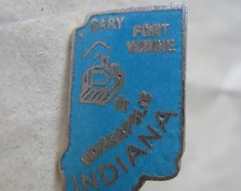 Indiana Lapel Pin Turquoise Silver Tie Tack Vintage Brooch Enamel State