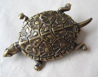 Turtle Gold/Brass Brooch Tortoise Vintage Pin