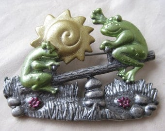 Frog See Saw Sun Brooch Pewter Green Gold Vintage Pin DD