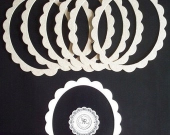 50% Vac. Sale Ovals, Chipboard Oval Scalloped Frames Die Cuts, no.15, Scallop Ovals, Scallop Frames, Chipboard Oval Frames, Scallop Die Cuts
