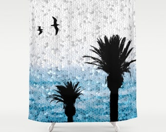 Shower Curtains, Digital Art Shower Curtain Bathroom Bath Design 25 Palm Trees Mosaic Blue  Home Decor L.Dumas