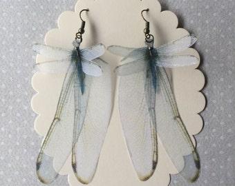 Wings - Handmade Blue Dragonfly and Wings Silk Organza Earrings