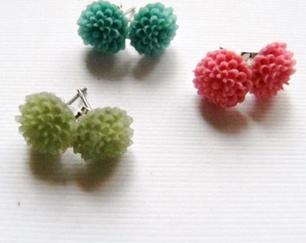 Earrings Trio Pack of Mums, Blue, Green and Pink