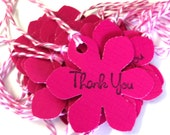 23 Tags, Gift Tags, Thank You, Merchandise, Hang, Hot Pink, Funky Flowers, Party Favor Tags