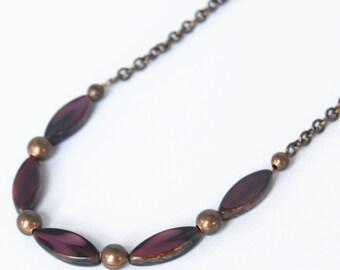violet modern Czech glass natural brass necklace by CURRICULUM