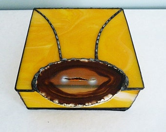 Stained Glass, Jewelry Box, Large Brown Geode, Sunflower Inspired