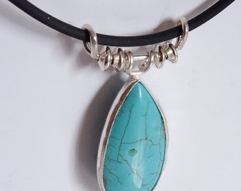 Beautiful Dyed Howlite and Sterling Silver Pendant.