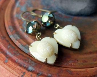 Khepri -  Vintage Glass and Swarovski Earrings in Ivory