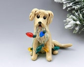Golden Retriever Christmas Ornament Figurine Lights Porcelain