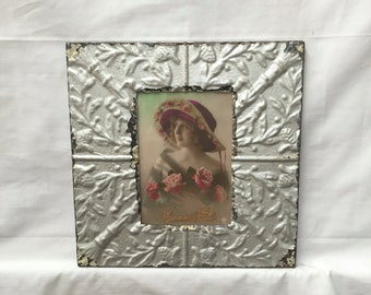 AUTHENTIC Tin Ceiling 5x7 Antique Silver Frame Reclaimed Photo 301-16