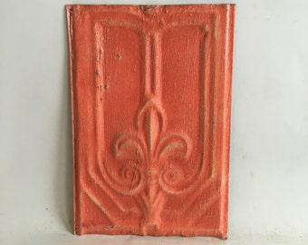 Antique Tin Ceiling Roof Tile 8.5 x 12.5 Coral Reclaimed Metal  144-16